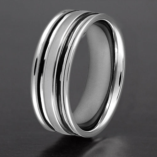 Black Striped Two-Tone Stainless Steel Ring