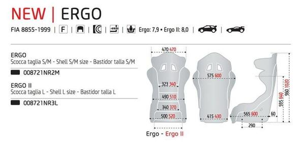 Sparco Ergo Size chart