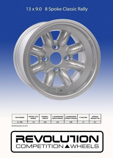13 x 9.0 8 spoke 4x108 Group 4 silver