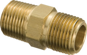 "1/4"" NPT Brass Hex Nipple"