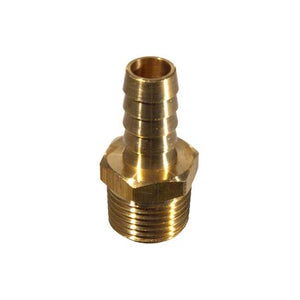 "Brass_Hose_Fitting_1/2""_MPT_X_1/2""_Barb"
