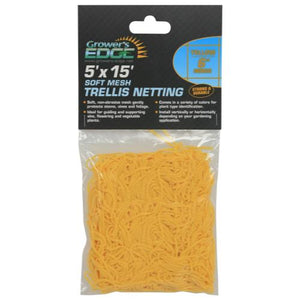 Grower's Edge Soft Mesh Trellis Netting 5 ft x 15 ft w/ 6 in Squares - Yellow (12/Cs)
