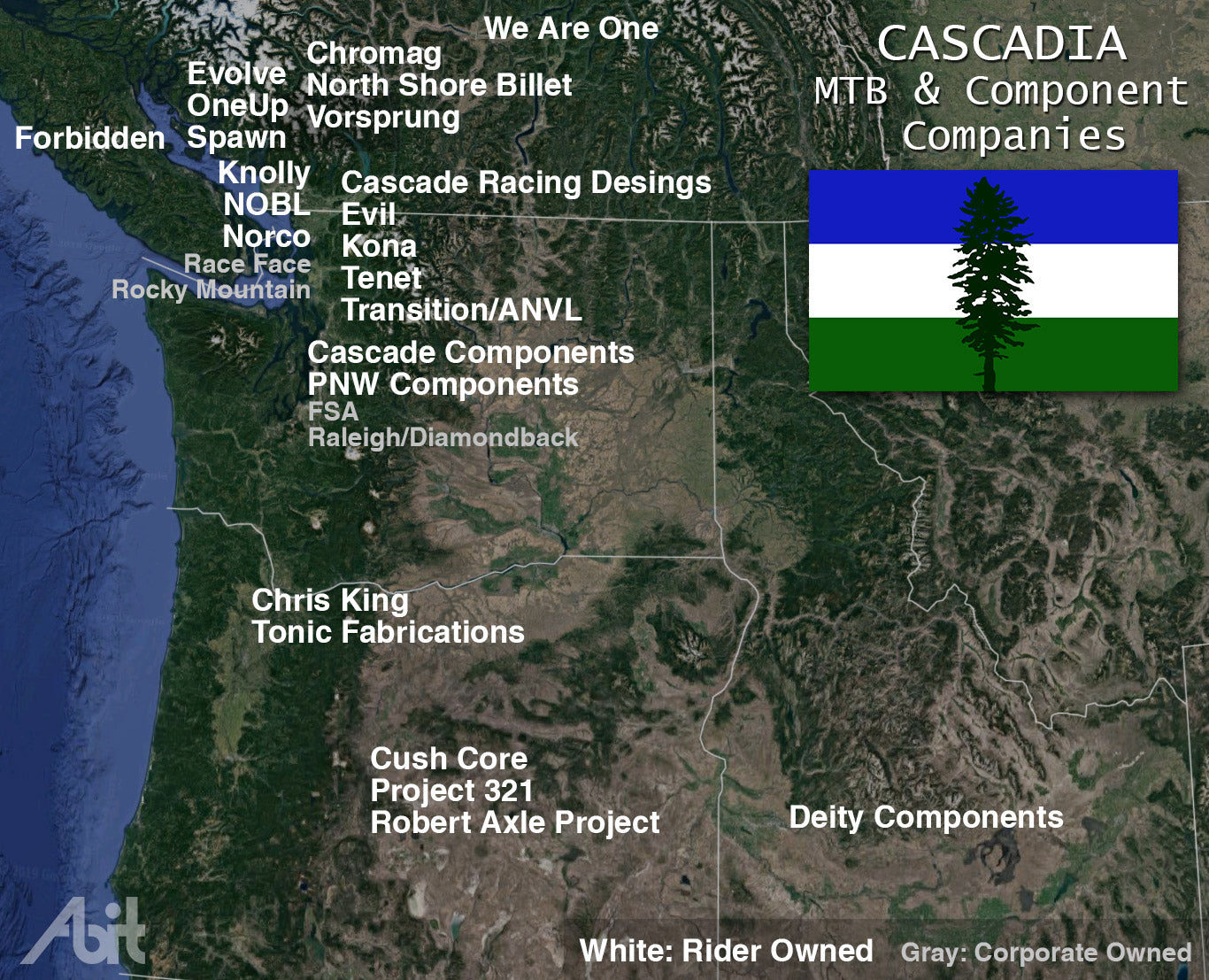 Map showing mountain bike companies based in the PNW