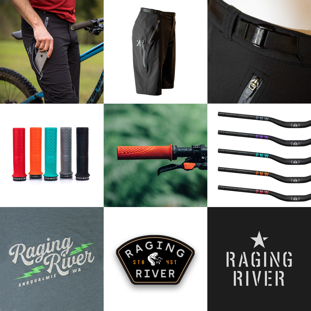 Prize pack for Tales from the Trails: Raging River. PNW Components, Dirtco, Abit Gear.