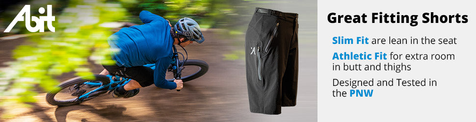 Slim Fit and Athletic Fit enduro mountain bike shorts