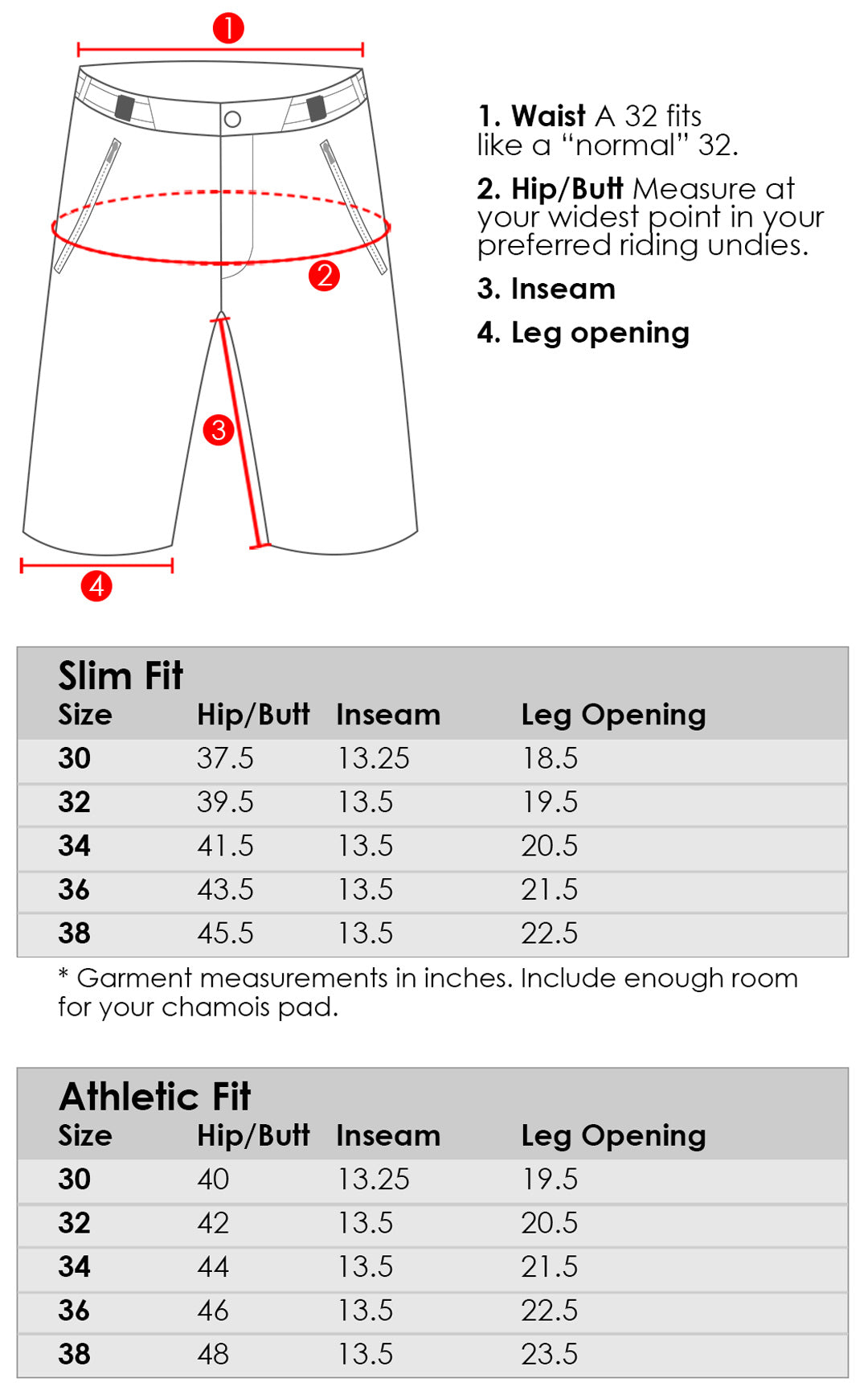 Abit Gear Enduro Mountain Bike Short size and fit chart