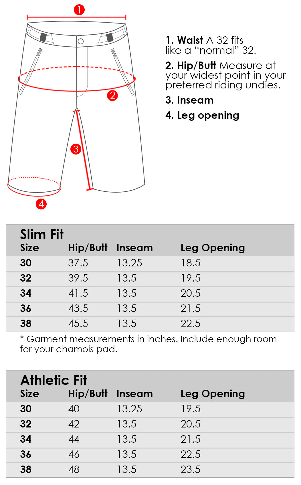 Size chart for Abit Gear men's Enduro mountain bike short in Slim Fit and Athletic Fit