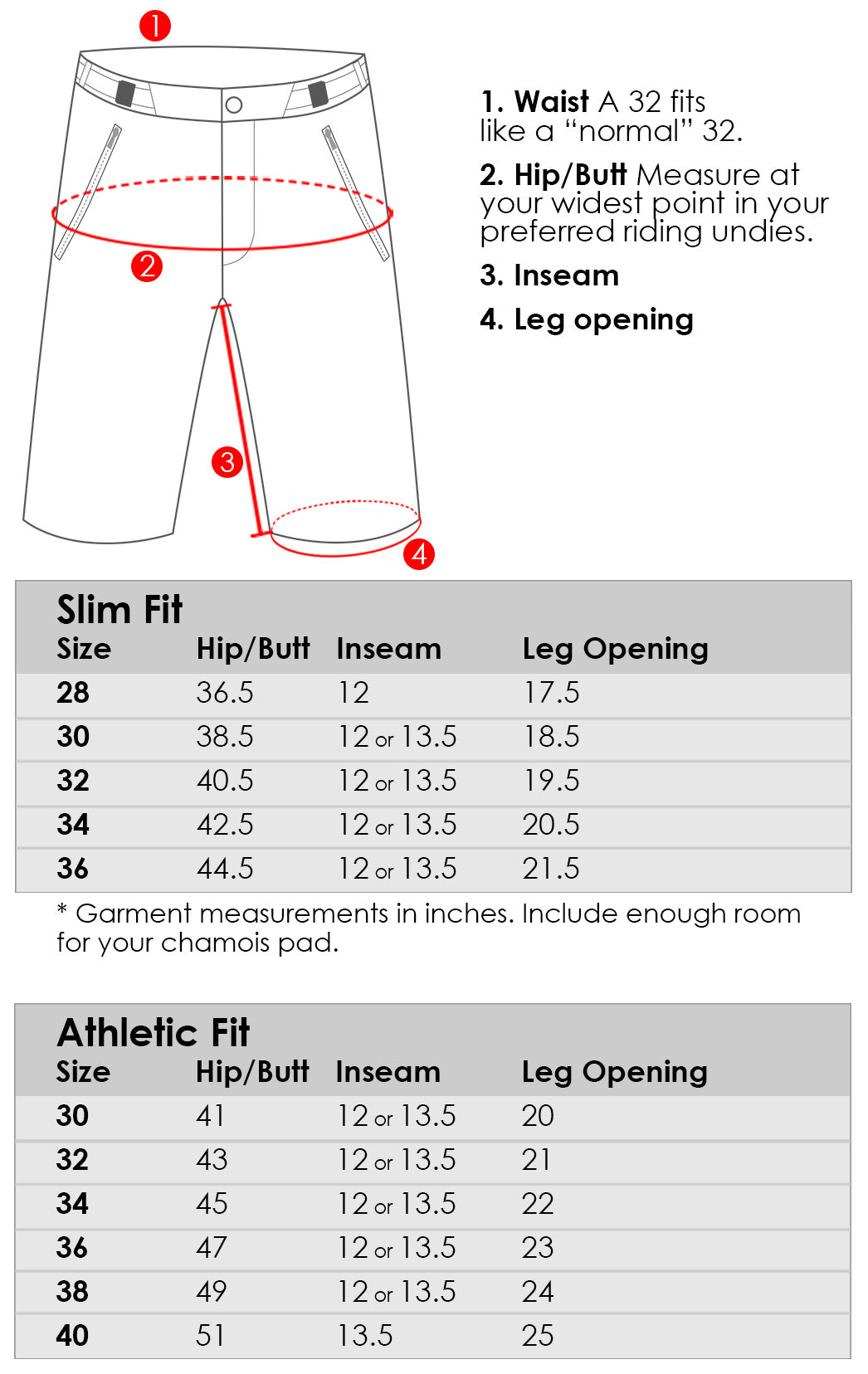 Abit Gear MTN Short v.2 - Size Guide