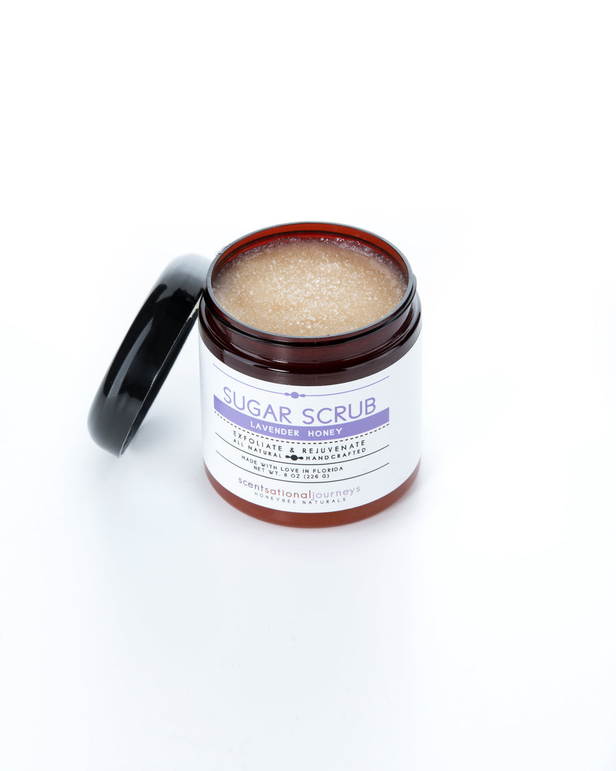 Lavender Honey Sugar Scrub Lid Open 8oz