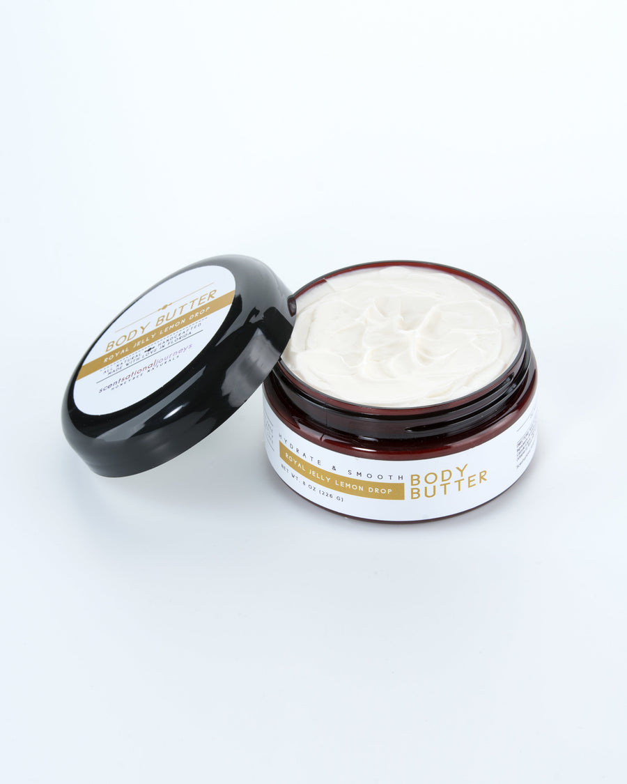 Royal Jelly Lemon Drop Body Butter Lid Open 8oz