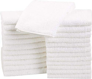 Terry Cotton Washcloths, White - Pack of 24