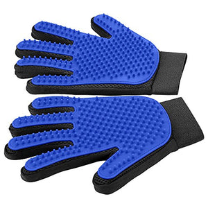 Gentle Pet Deshedding Brush Glove - 1 Pair (BLUE)