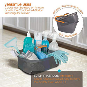 Casabella Cleaning Handle Bucket, Rectangular Storage Caddy, Graphite, 4 gallons, Gray and Orange