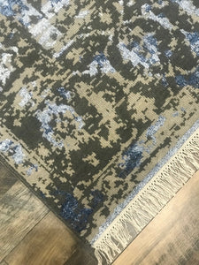 artisan collection hand knotted refined area rugs handmade rug wool and bamboo silk transitional blue and ash gray loloi new artifact