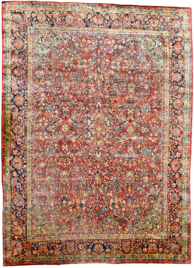 one of a kind american sarouk persian rug handmade hand knotted area rug online affordable vintage large red blue