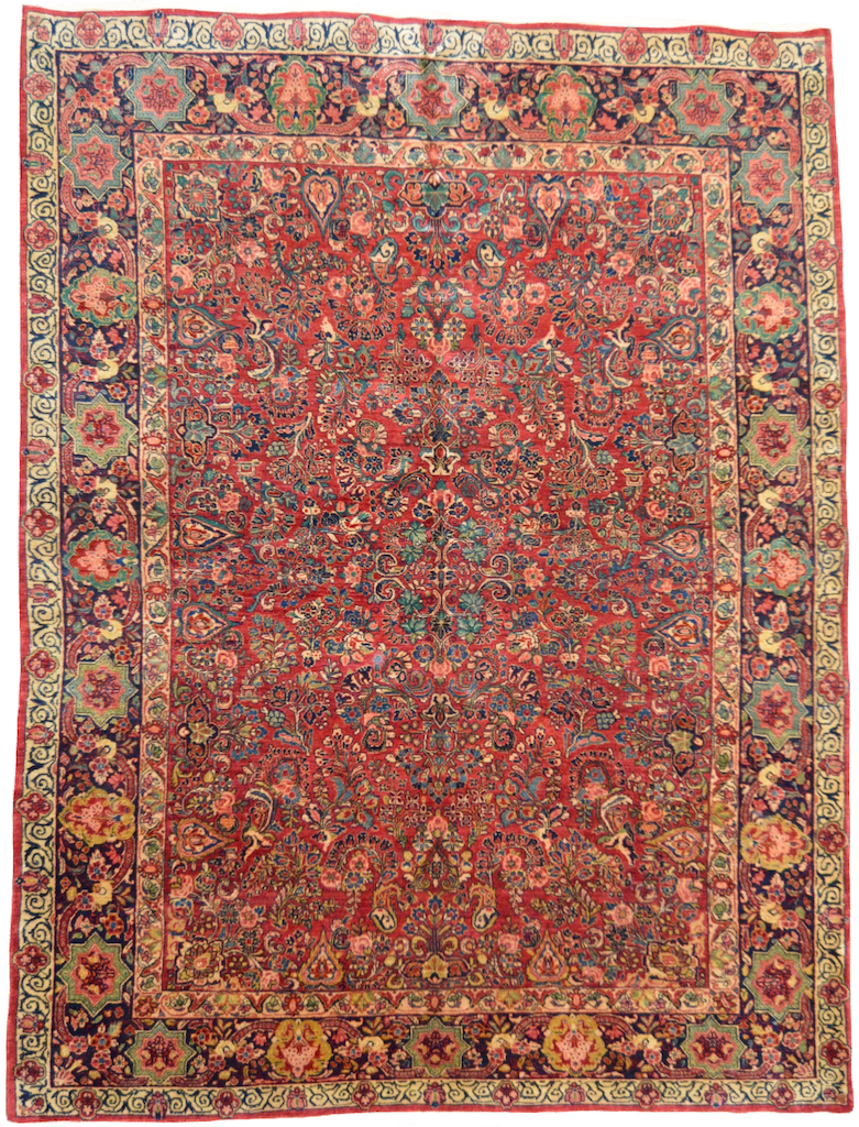 one of a kind vintage persian sarouk large rug handmade handknotted online refined area rug red gold multi
