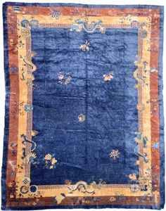 vintage chinese rug large area rug handmade blue gold one of a kind online refined area rugs carpet