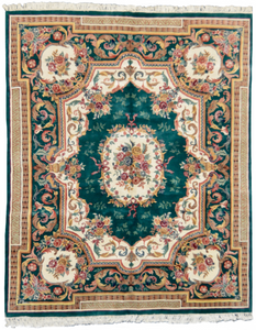 one of a kind chinese ambusson green area rug hand-knotted handmade traditional area rug online rug store