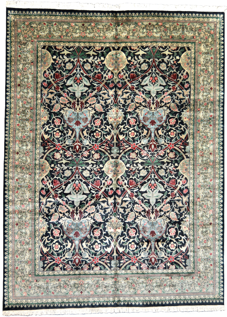 one of a kind vintage pakistan area rug large black green hand knotted handmade unique online affordable refined carpet