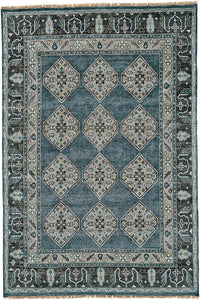 hand-knotted ustad area rug feizy blue and gray traditional area rug