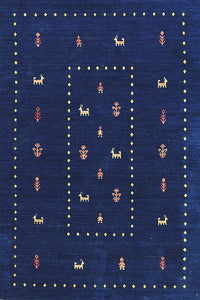 gabbeh amer area rug blue rug online hand-knotted traditional rug