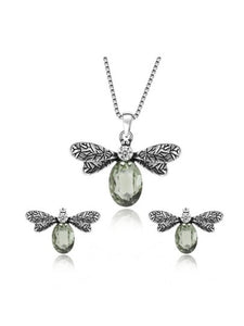 Metal Insect Pendant Necklace & Earrings Set With