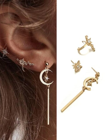 Moon & Bar Earrings Set 3pcs