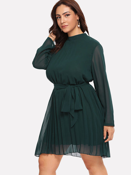 Plus Self Tie Waist Solid Dress - Phany's