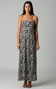 Women's Abstract Stripe Strapless Maxi Dress