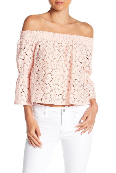 Women's 3/4 Three Quarter Long Sleeve Off Shoulder Floral Lace Top - Phany's