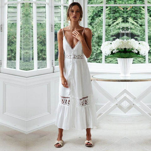 LORENA WHITE MIDI DRESS