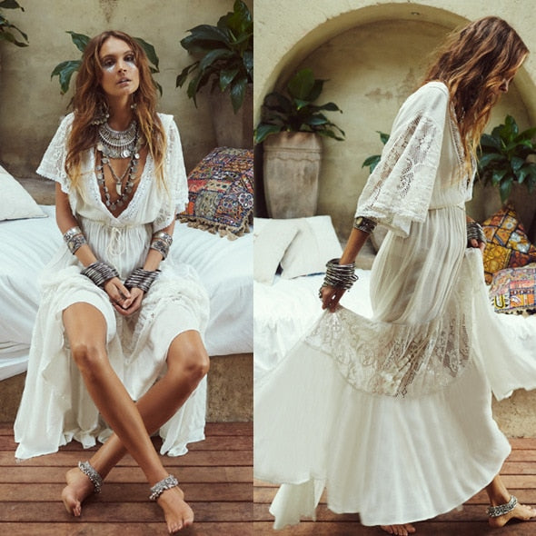 COTTON LACE MAXI DRESS