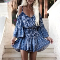 CARLA BLUE FLORAL PRINT MINI DRESS
