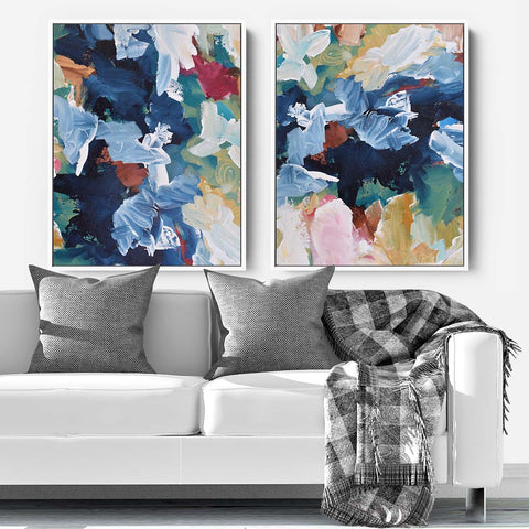 vibrant colourful abstract canvas print set
