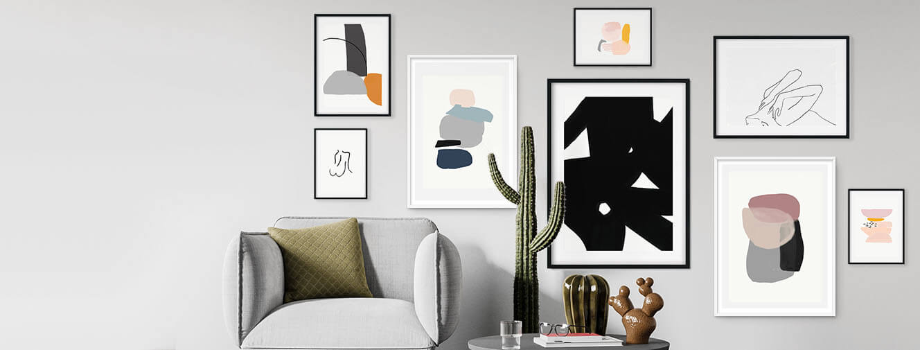Gallery wall art of framed prints by Abstract House