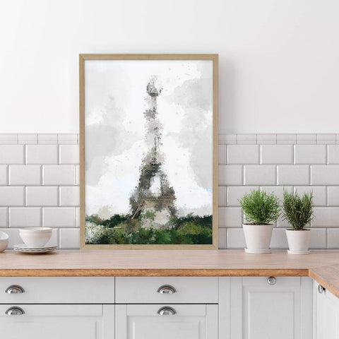Art print featuring a distorted image of the Eiffel Tower in Paris