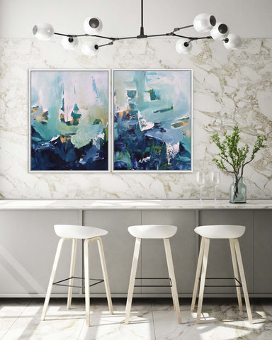 statement abstract art for modern marbled kitchen interiors