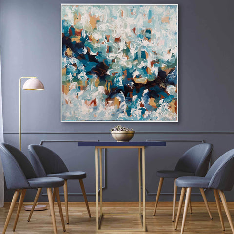 blue abstract art dining room interior design guide