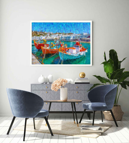 Framed impressionist print of fishing boats in a Portuguese port