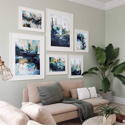 large abstract gallery wall print set