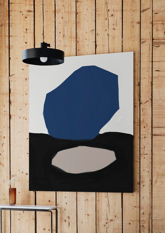 large navy contemporary canvas art print by abstract house