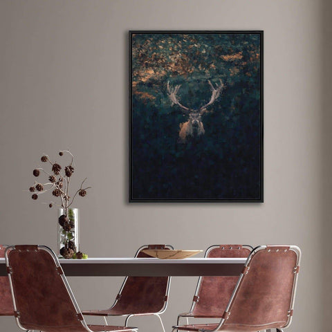 dining room wall decor red deer stage impressionist art nature