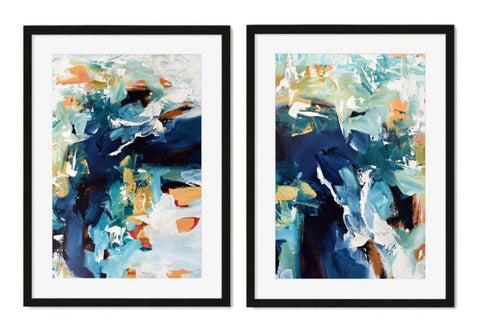 Blue wave print set of 2 pairs abstract beach water