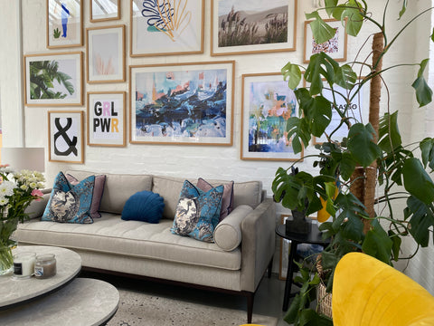 Living room gallery wall in Abstract House's new showroom - the destination for designer art prints