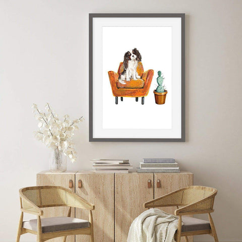 King Charles spaniel dog pet art for home office groomer doggy day care business vets