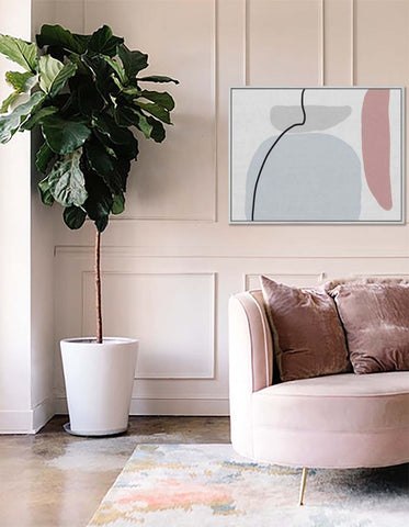blush blue and grey canvas art print by abstract house