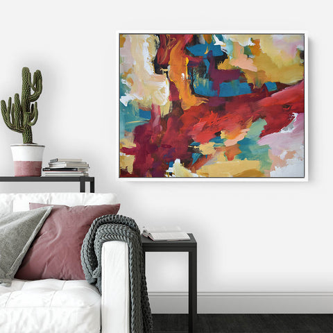 red abstract canvas art print framed by abstract house