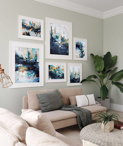 blue abstract landscape gallery wall