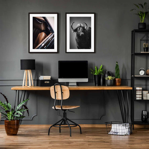 home office wall art photography art prints vintage car moody buffalo set of 2 prints Father's Day gifting guide