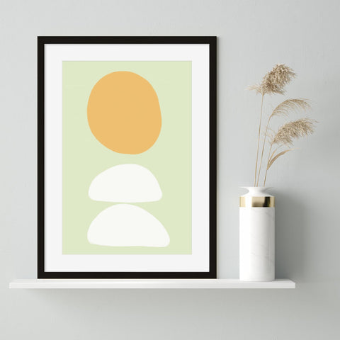 Abstract art orange and white shapes against a mint green background art print